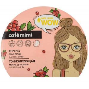 CAFE MIMI Tonizująca maska do twarzy w płachcie z ekstraktem z żurawiny