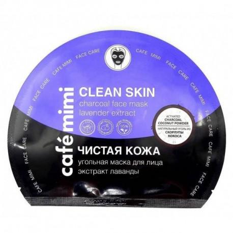 CAFE MIMI Węglowa maska do twarzy w płachcie z ekstraktem lawendowym, 22g