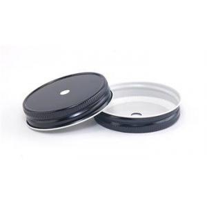 Черная крышка с дырочкой для соломинки на банку Mason Jar Regular Mouth