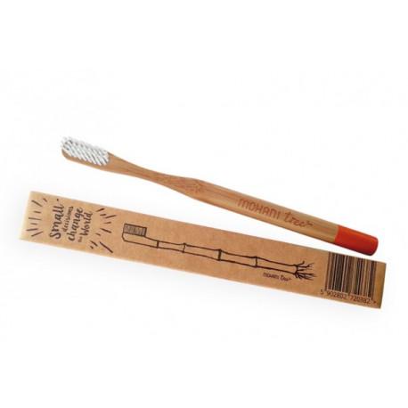 EKO szczoteczka bambusowa Mohani WŁOSIE MIĘKKIE - pomarańczowa