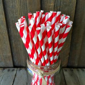 Соломинка бумажная красно-белая Mason Jar