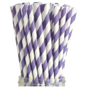 Бумажная соломинка фиолетово-белая Mason Jar
