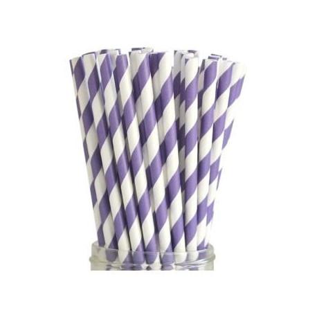 Słomka papierowa fioletowo biała Mason Jar