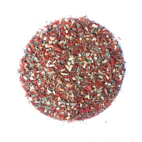 Przyprawa bez soli. Pomidory suszone wiórki z czosnkiem i bazylią