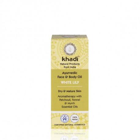 Khadi, Ajurwedyjski olejek do twarzy i ciała z białą lilią, 100 ml