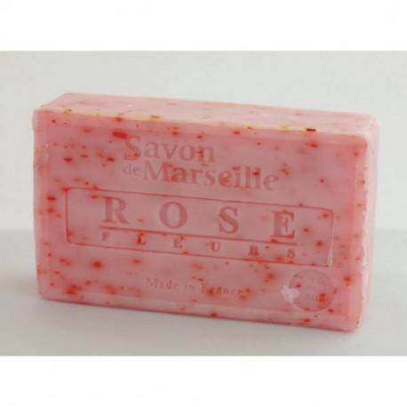 Mydło marsylskie z olejem ze słodkich migdałów - Płatki róży, 100g, Le Chatelard