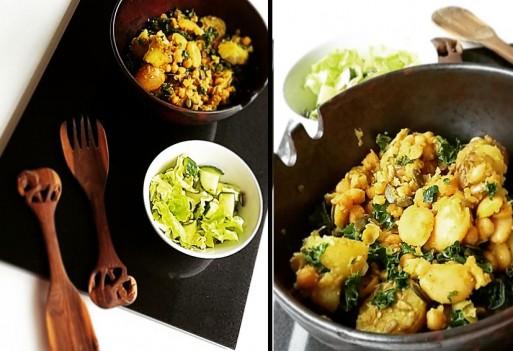 Ziemniaki z jarmużem i nasionami, cieciorką i jaśkiem